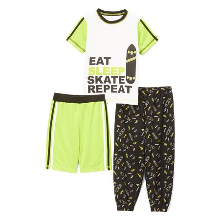 Graphic Top, Short and Sleep Jogger Pant, 3-Piece Pajama Set (Little Boy & Big Boy) - Little Boys Christmas Pajamas