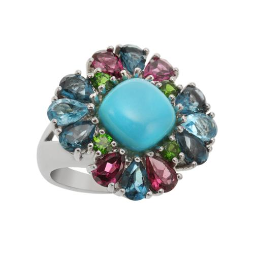 Sterling Silver 9.15ct Sleeping Beauty Turquoise and Multi Gem Ring Size 6