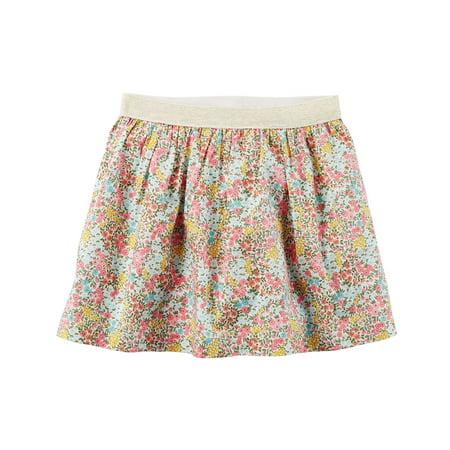 Little Girls' Floral Metallic Skirt, 2