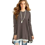 Women's Lace Long Sleeve Tunic Tops Shirt Clothing Scoop Neck Womens Plus Size Tunic Blouses Tops