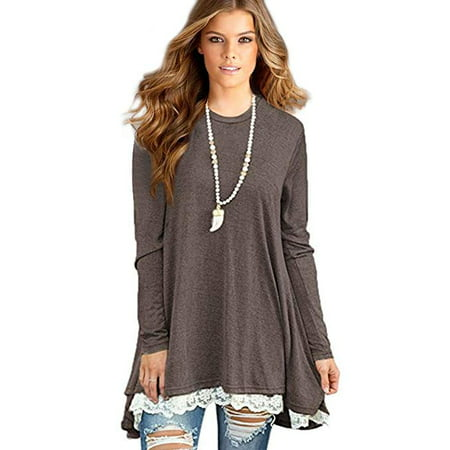 Women's Lace Long Sleeve Tunic Tops Shirt Clothing Scoop Neck Womens Plus Size Tunic Blouses (Lace Trim Scoop Neck Tee)