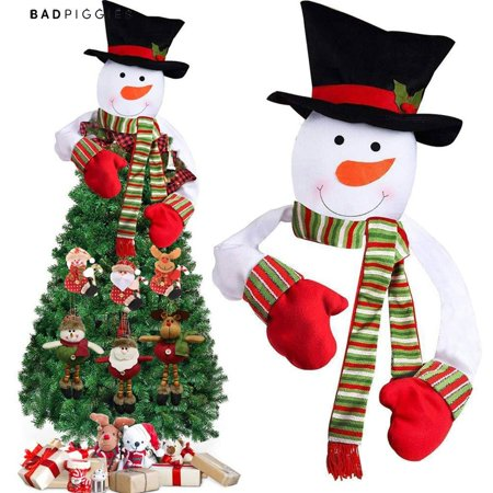 BadPiggies Snowman Christmas Tree Topper with Top Hat Scarf Hugger for Xmas Holiday Winter Home Party Decoration Ornament ()
