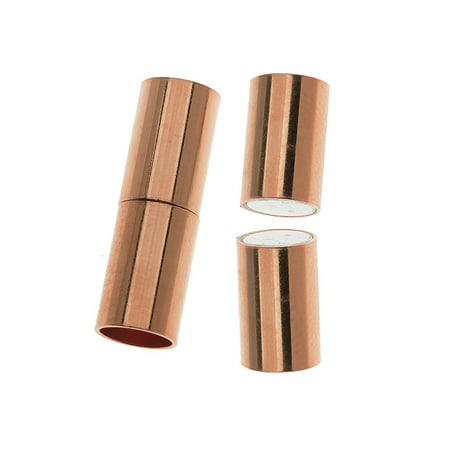 (Magnetic Clasp, Tube Cord Ends Fits 6.2mm Cord, 1 Set, Copper Plated)