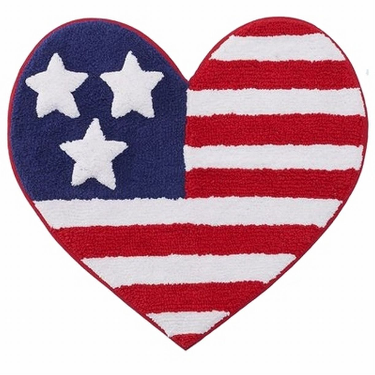 Summer Heart Shaped USA Flag Cotton Bath Rug Skid Resistant Americana Mat