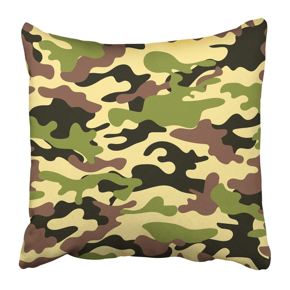 BPBOP Green Camouflage with Military Color of the Ground Khaki Beige Camo Hunting Abstract Army Canvas Pillowcase Pillow Cover 20x20 inches