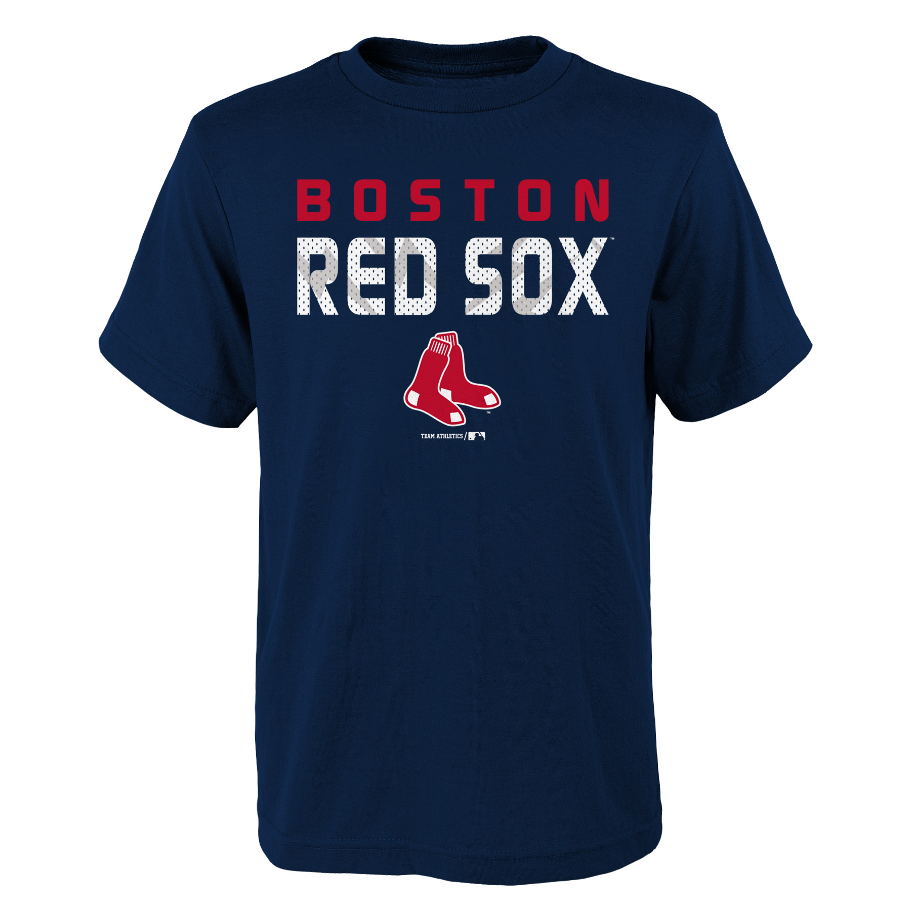 MLB Boston RED SOX TEE Short Sleeve Boys Team Name and LOGO 100% Cotton Team Color 4-18