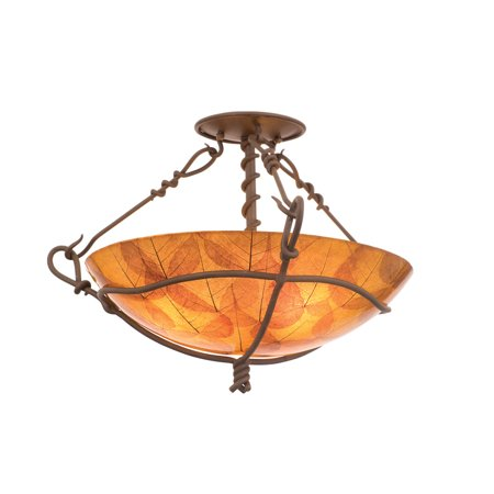 Semi Flush 3 Light With Bark Finish Penshell Glass Hand Forged Wrought Iron Tempered Glass and Co E26 73 inch 360 Watts 1/2' Hand Forged Wrought Iron