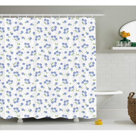 Floral Shower Curtain Vintage Rose Flowers Bouquets Spring Season Theme Dots Green Leaves Fabric
