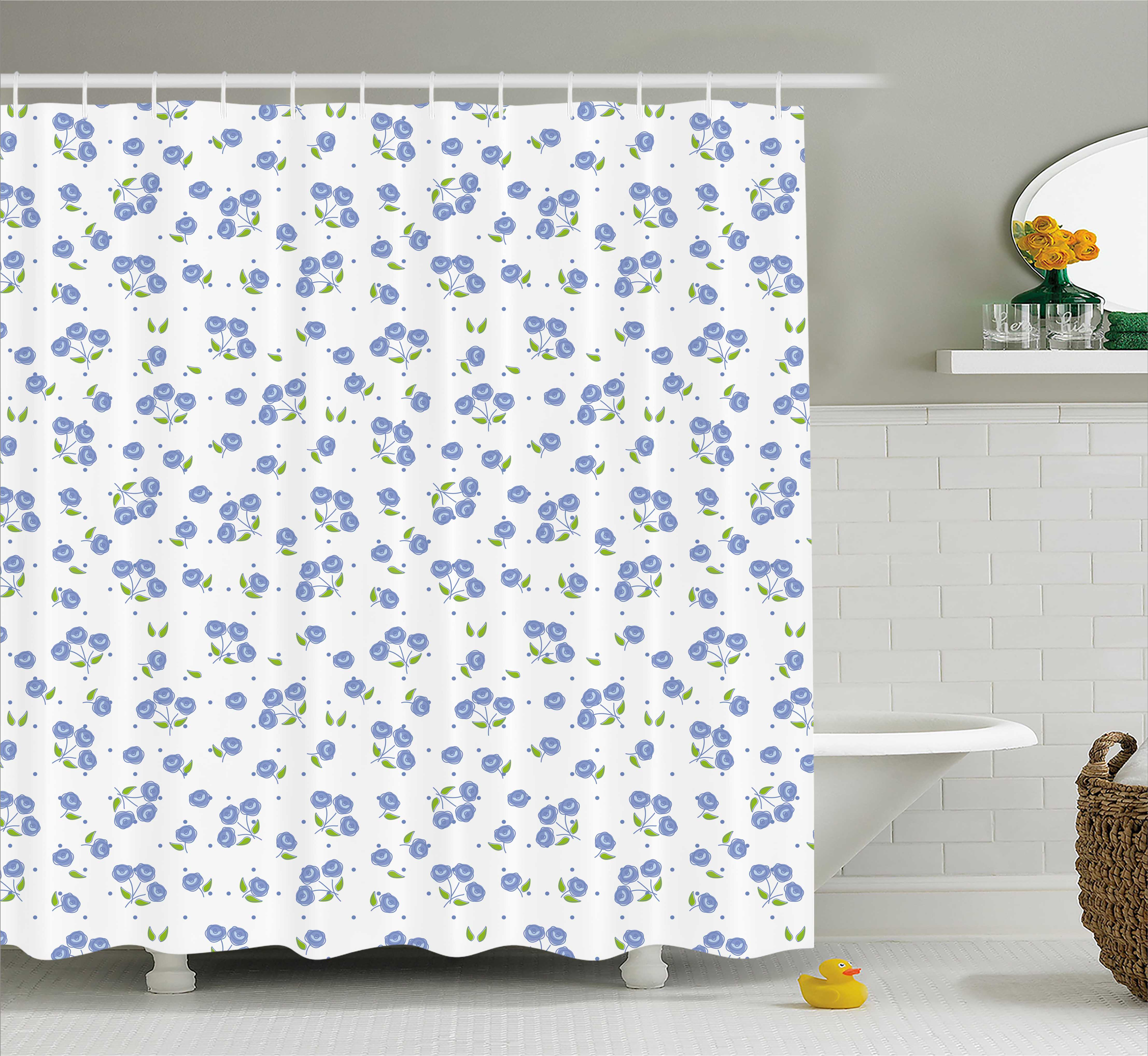 Floral Shower Curtain, Vintage Rose Flowers Bouquets Spring Season Theme  Dots Green Leaves, Fabric