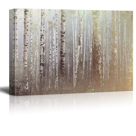 wall26 Canvas Wall Art - Birch Trees Forest on a Foggy Day - Giclee Print Gallery Wrap Modern Home Decor Ready to Hang - 12x18 (Birch Finish Wall)