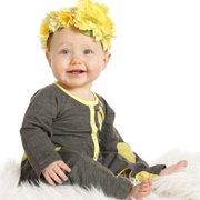 KidCuteTure Baby Girls Mimosa Yellow Polka Dots Chelsea Designer Romper 9M