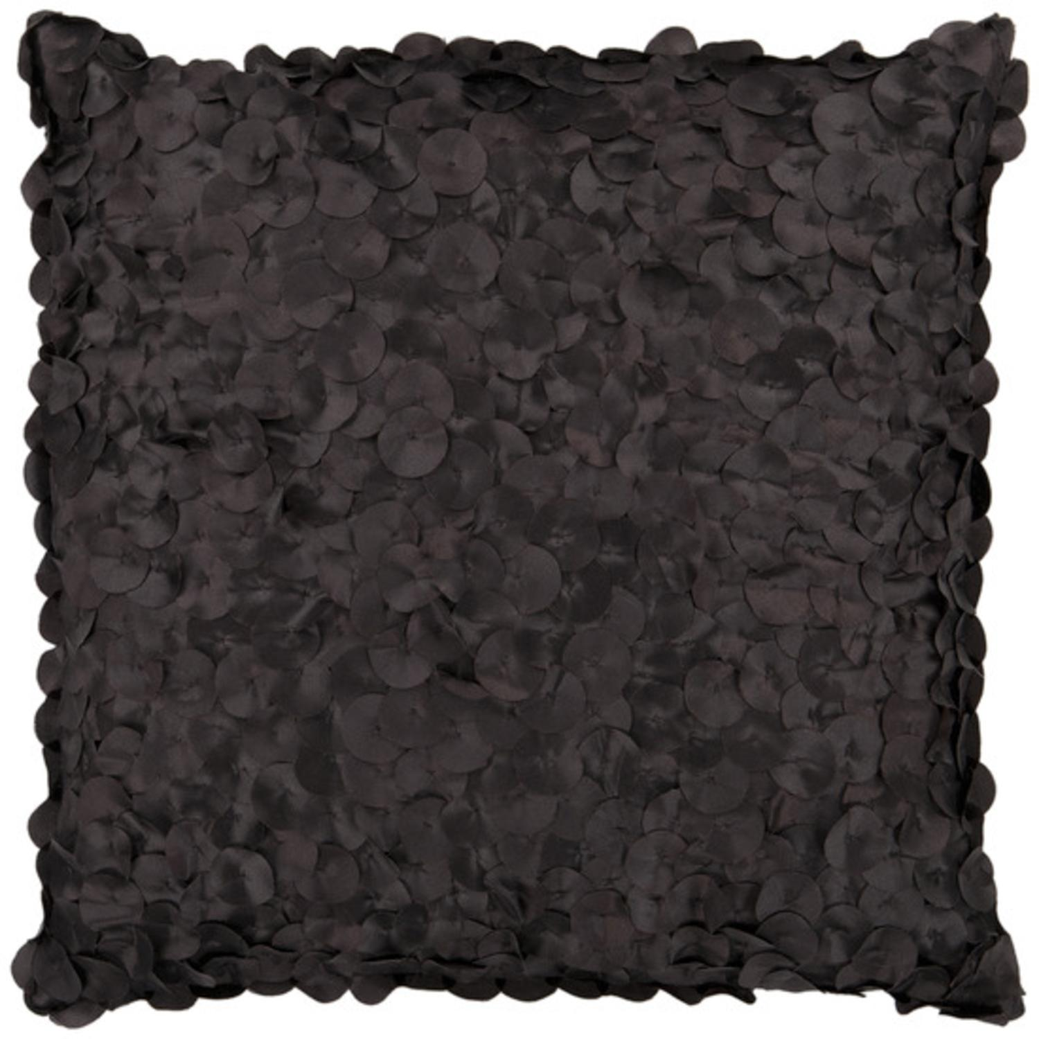 "22"" Cola Black Shimmering Satin Rondelle Decorative Throw Pillow"