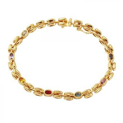 Foreli 14K Yellow Gold Bracelet With Created Ruby, Created Sapphire Cubic Zirconia by Generic