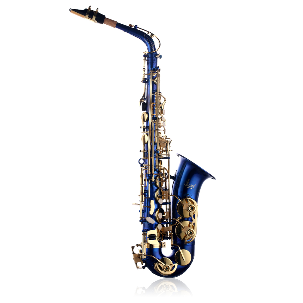 New Professional Lacquer Brass Eb Alto Saxophone Sax with Case And Accessories Blue by OUTAD