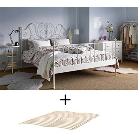 Ikea Full Size Metal Country Style Bed Frame with Slatted Base , White ()