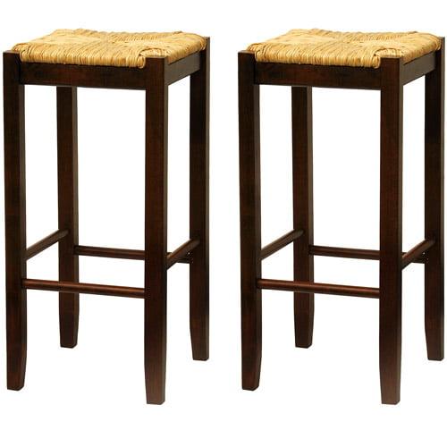 "Rush Seat Bar Stools 29"", Set of 2, Antique Walnut"
