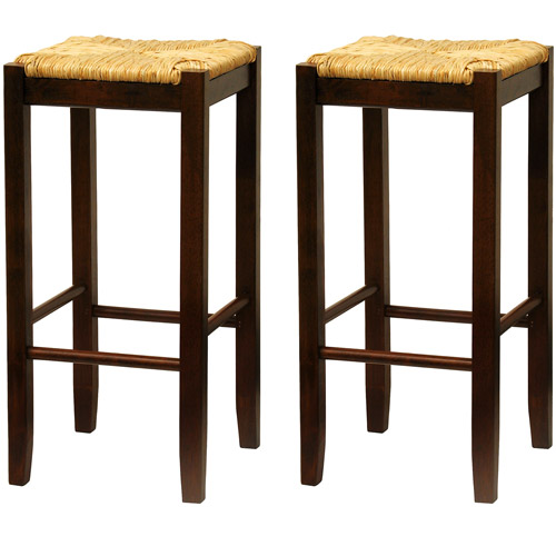 "Rush Seat Bar Stools 29"", Set of 2, Antique Walnut"
