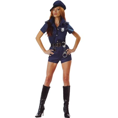 Womens Sexy Cop Lady Halloween Costume Police Officer 7 Piece Outfit Dress Up
