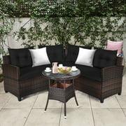 Gymax 4PCS Patio Furniture Set Outdoor Rattan Sectional Sofa Set w/ Black Cushions