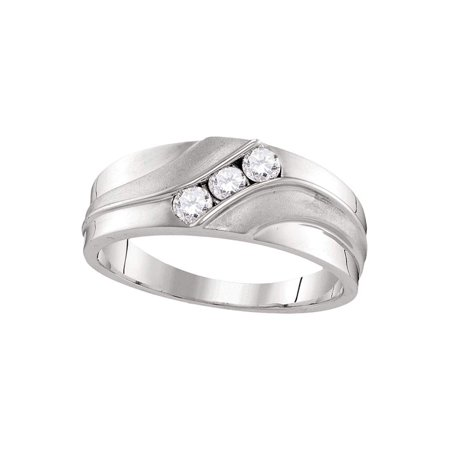 10kt White Gold Mens Round Diamond Wedding Band Ring 1/3 Cttw - image 1 de 1