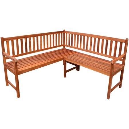 "Garden Corner Bench 59"" Solid Acacia Wood (Manual Spring Bench)"