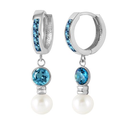 9k Rose Earrings (4.3 Carat 14K Solid White Gold Huggie Earrings Freshwater-cultured Pearl Blue Topaz)