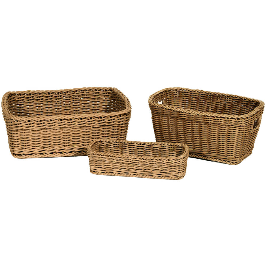 Seville Classics Woven Storage Baskets, 3 Piece Set