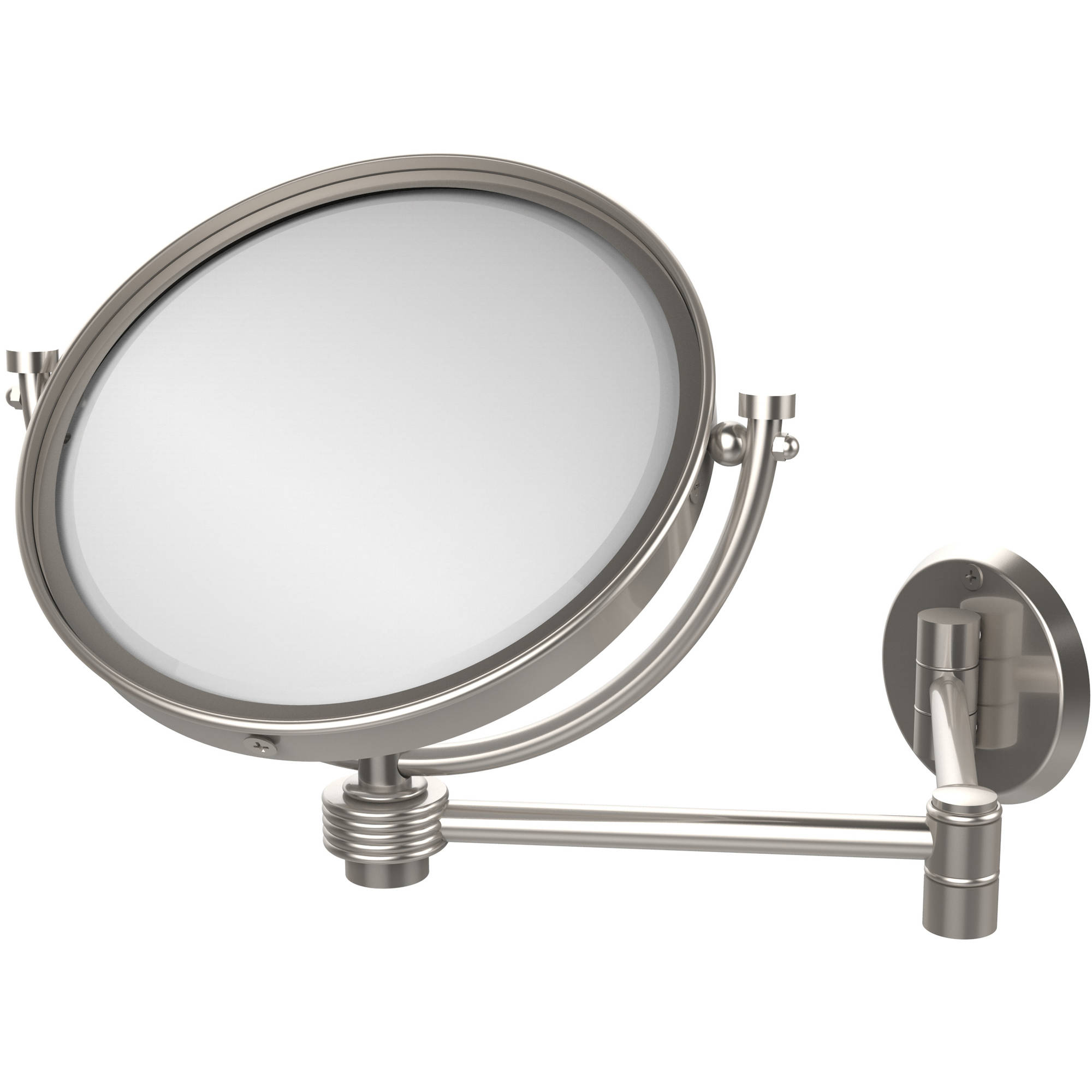 """8"""" Wall-Mounted Extending Make-Up Mirror, 2x Magnification with Groovy Accent (Build to Order)"""
