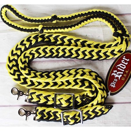 Roping Knotted Horse Tack Western Barrel Reins Nylon Braided Yellow 8ft  607168