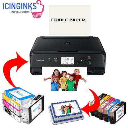 Icinginks Latest Edible Printer Deluxe Package - Comes With Edible Printer, Edible Ink Cartridges, Edible Cleaning Cartridges, Edible Paper- Best Cake Printer Edible Image Printer Canon Edible (Best Printer For Iron On Transfers)