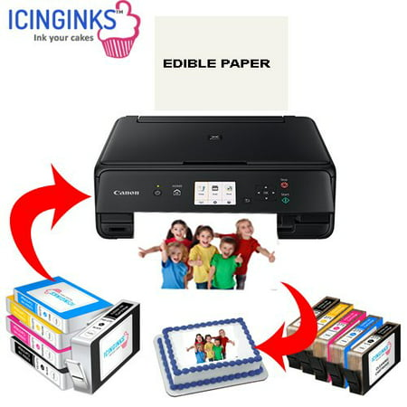 Icinginks Latest Edible Printer Deluxe Package - Comes With Edible Printer, Edible Ink Cartridges, Edible Cleaning Cartridges, Edible Paper- Best Cake Printer Edible Image Printer Canon Edible