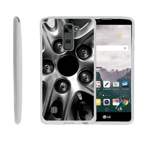LG G Stylo 2, LG G Stylus 2 LS775, Flexible Case [FLEX FORCE] Slim Durable TPU Sleek Bumper with Unique Designs - Black Rim Close up (Orzly Slim Rim Case)