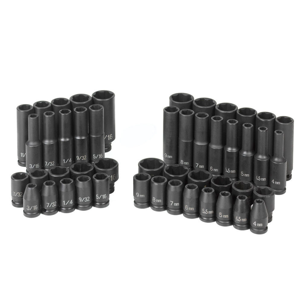 "1/4"" Drive Standard & Deep Surface Drive Impact Set, 48pcs GREY PNEUMATIC 9748"