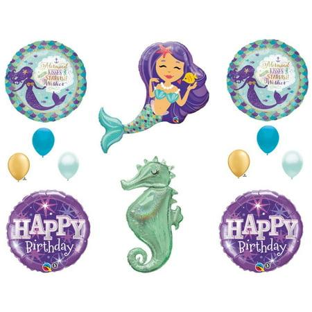 Mermaid Kisses & Seahorse Birthday Party Balloons Decoration Supplies Ocean Luau