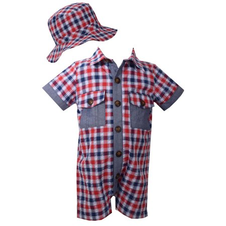 Bonnie Jean Boys Plaid Coverall And Sunhat Set 4T