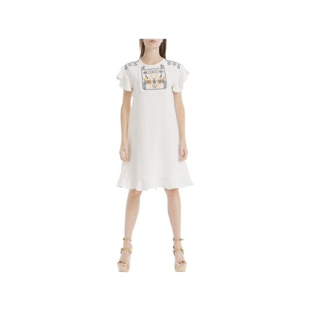 Max Studio Womens Natalie Embroidered Ruffled Casual Dress