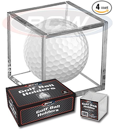 (4) Golf Ball Display Case Stackable Square Cube Holder Display Stand by By BCW by