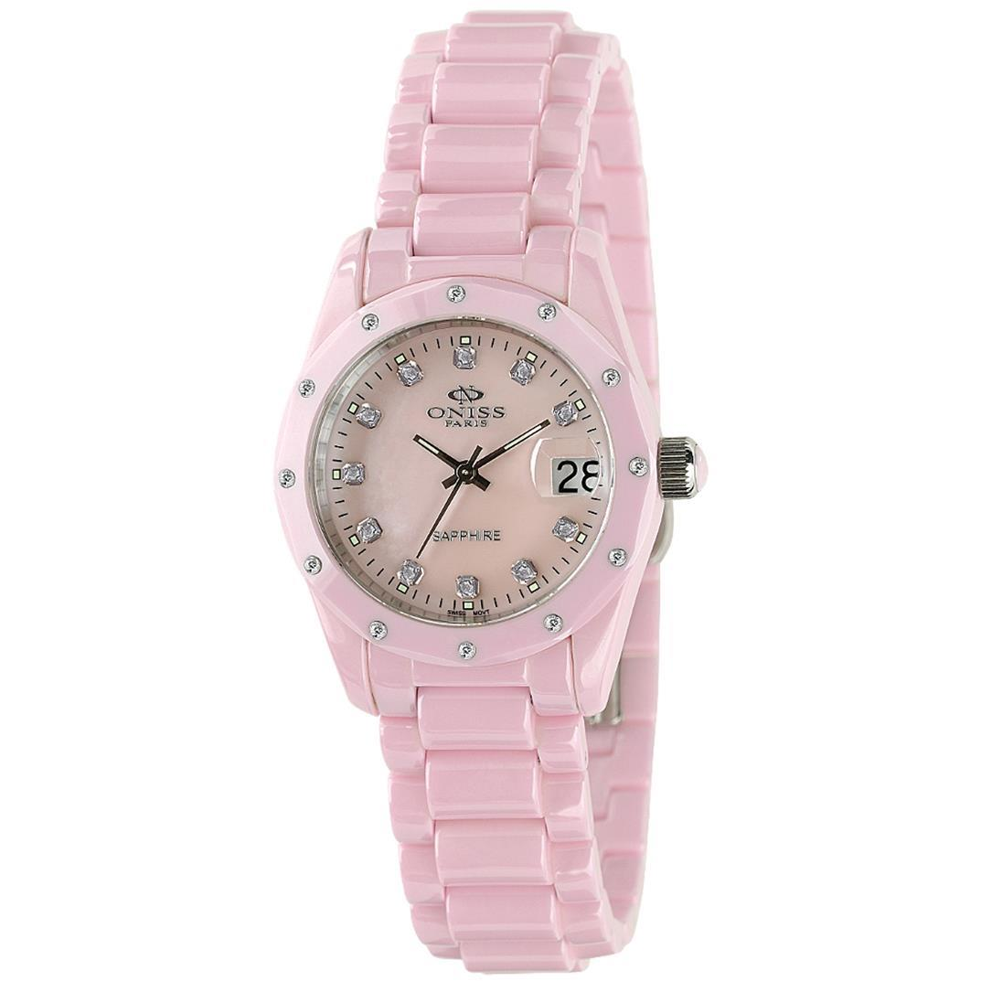 Oniss Women's Origen 33.44mm Pink Ceramic Band & Case Sap...