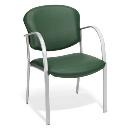 414-VAM-602 Office Furniture 250 lb Capacity SILVER Steel Frame Waterfall Seat GREEN Vinyl Reception Chair With Rounded Arms