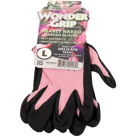 Wonder Grip® WG1850ACL Nearly Naked Nitrile Palm Garden Gloves, Large, Assorted Nitrile Garden Gloves