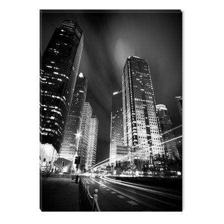 Startonight Canvas Wall Art Black and White Abstract Cityscape Light Night Skyscrapers, Dual View Surprise Artwork Modern Framed Ready to Hang Wall Art 100% Original Art Painting 23.62 X 35.43 inch