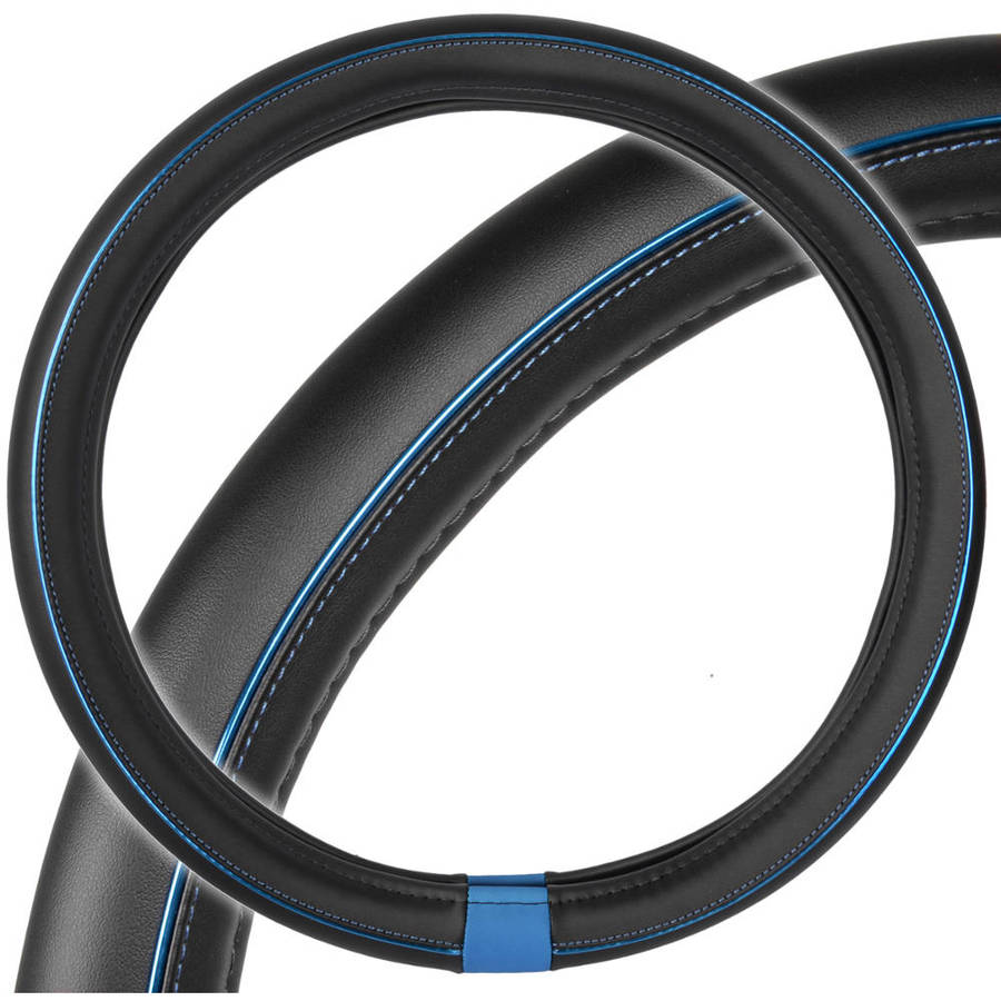 Motor Trend ProSleek Synthetic Leather Car Steering Wheel Cover Black with Blue Metallic Ring, Standard Size