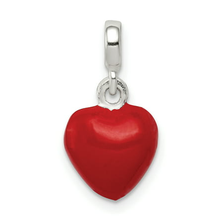 925 Sterling Silver Red Enameled Heart Enhancer Necklace Pendant Charm Love Ful Gifts For Women For Her