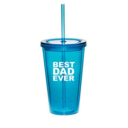 16oz Double Wall Acrylic Tumbler Cup With Straw Best Dad Ever (Light-Blue)