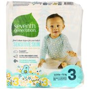 Seventh Generation Free & Clear Baby Diapers with Animal Prints Size 3, 16-28 lbs 31 count