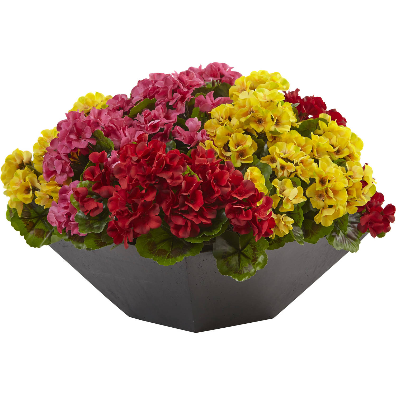 Nearly Natural Geranium with Black Planter UV Resistant (Indoor/Outdoor