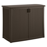 Suncast 97 Gallon Outdoor Resin Wicker Deck Storage Cabinet, Java Brown