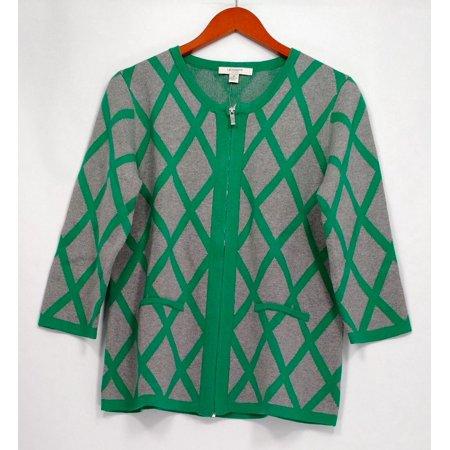 - Liz Claiborne New York Women's Sweater Sz M Window Pane Print Gray A261245