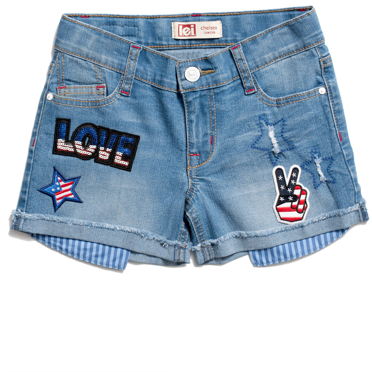 Girls' Patch Denim Shorts