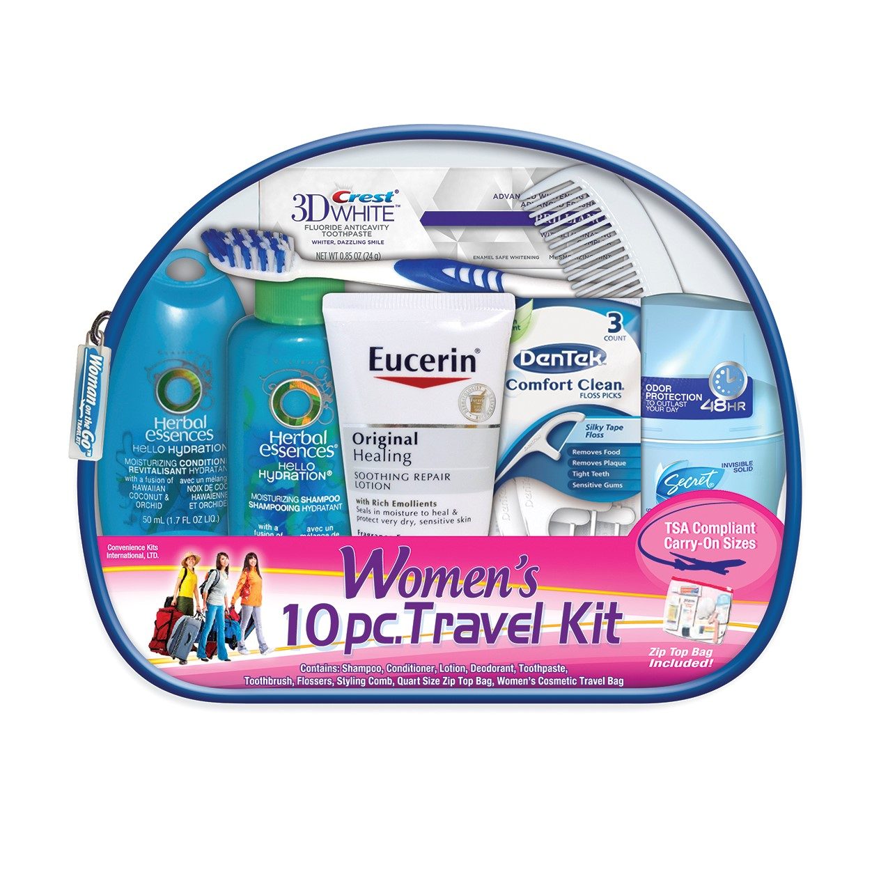 Travel Personal Care Kit for Woman On The Go 10 Piece, TSA Compliant